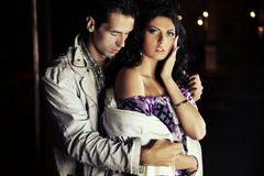 Attractive young couple at night Royalty Free Stock Image