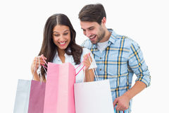 Attractive young couple with shopping bags Royalty Free Stock Image