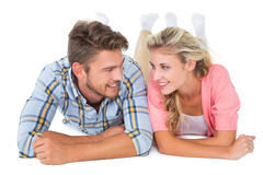 Attractive young couple smiling at each other Royalty Free Stock Photos