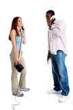 Attractive Young Couple Speaking On The Telephone Stock Photo