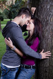 Attractive young couple about to kiss under a tree Royalty Free Stock Photography