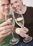 Attractive Young Couple Toasting Stock Photography