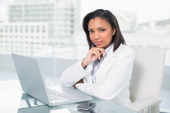 Attractive young dark haired businesswoman using a laptop Royalty Free Stock Photography