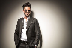 Attractive young elegant business man smiling Royalty Free Stock Images