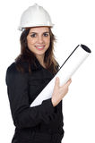 Attractive young engineer. Over a white background Royalty Free Stock Images