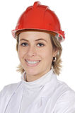 Attractive young engineer. Over a white background Royalty Free Stock Photo
