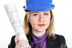 Attractive young engineer. On the white background Royalty Free Stock Photo