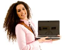 Attractive young executive holding laptop Royalty Free Stock Photography