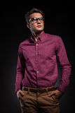 Attractive young fashion man looking up Royalty Free Stock Images