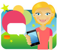 Attractive young female advertising cellphone. Against colours background Royalty Free Stock Photos