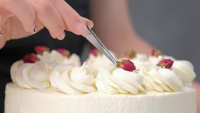 An attractive young female brunette confectioner decorates a white cake with small red flowers of food rose with. Tweezers. On a dark gray background stock footage