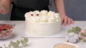 An attractive young female brunette confectioner decorates a white cake with small red flowers of food rose with. Tweezers. On a dark gray background stock video footage