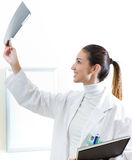 Attractive young female doctor examining x-ray results Royalty Free Stock Photo