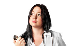 Attractive young female doctor with stethoscope Royalty Free Stock Photo