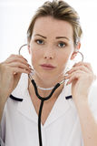 Attractive Young Female Doctor With a Stethoscope Stock Photography