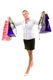 Attractive young female holding shopping bags Stock Image