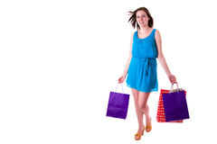 Attractive young female holding shopping bags Royalty Free Stock Photo