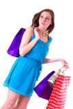 Attractive young female holding shopping bags Stock Photos