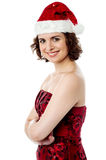 Attractive young female santa Royalty Free Stock Images