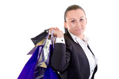 Attractive young female with shopping bags Royalty Free Stock Photos