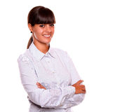 Attractive young female smiling and looking at you Royalty Free Stock Images