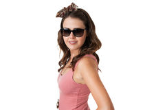 Attractive young female wearing sunglasses Royalty Free Stock Image
