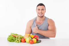 Attractive young fit man prefers healthy eating Stock Photography