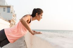 Attractive young fitness woman stock photo