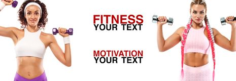Fitness women athlete with dumbbells. Template, banner or poster for sport ads. White background. Attractive young fitness women holding dumbell. Studio shot stock images