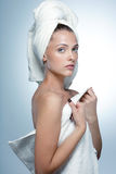 Attractive young girl after bath Royalty Free Stock Image