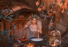 Attractive young girl with blond hair with an amazing lush wreath on her head in the forest is preparing a large stock images