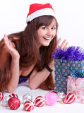 Attractive young girl with christmas presents Royalty Free Stock Photography