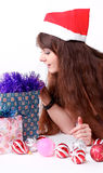 Attractive young girl with christmas presents Royalty Free Stock Image