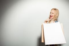 Attractive young girl is crazy about shopping Royalty Free Stock Image