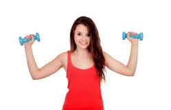 Attractive young girl with dumbbells Stock Photo