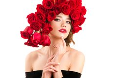 Attractive young girl with fashionable red roses hairstyle stock photos