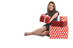 Attractive young girl with gift boxes Stock Photo
