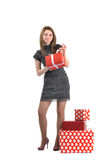 Attractive young girl with gift boxes Royalty Free Stock Photo