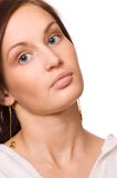 Attractive young girl with green eye lens Stock Photos