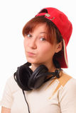 Attractive young girl with headphones Royalty Free Stock Photo