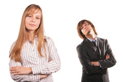 Attractive young girl and man stock photography