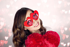 Pretty smile and heart shape glasses Stock Photo