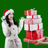 Attractive young girl receive presents Stock Photography