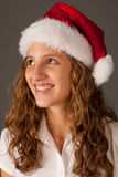 Attractive  young girl in Santa Hat Royalty Free Stock Photo