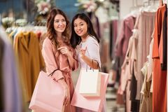 Attractive girl in a store Stock Photo