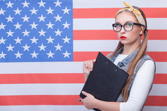 Attractive young girl is working in USA Royalty Free Stock Photo