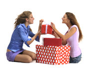 Attractive young girls with gift boxes Royalty Free Stock Image