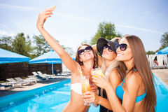 Attractive young girls are resting on vacation Stock Images
