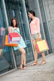 Attractive young girls women on shopping tour Stock Images