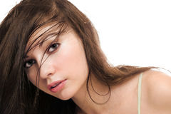 Attractive young green-eyed brunette Royalty Free Stock Images